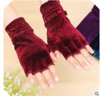 定制logo广告女士半指冬丝绒保暖可爱时尚绒布分指露指可触屏手套