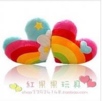 韩国彩虹心 爱心抱枕 毛绒玩具 婚庆礼品 可印LOGO