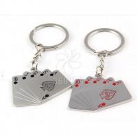 迷你扑克牌钥匙扣 创意钥匙扣金属汽车钥匙扣 刻字logo礼品钥匙扣